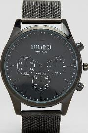 inspired chronograph mesh strap watch  black exclusive to asos