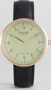 inspired dome leather watch  black