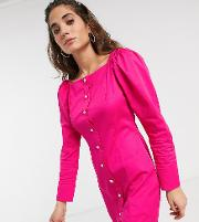 Inspired Dress With Puff Sleeve And Button Front
