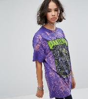 Inspired Festival Bleached  Shirt With Pantera Tour Print