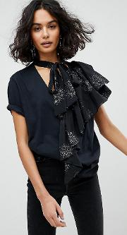 Inspired Frill Front Cut & Sew  Shirt
