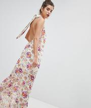 Inspired High Neck Floral Maxi Dress