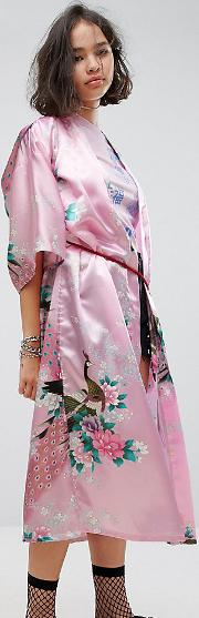 Inspired Kimono  Printed Satin With Rope Belt
