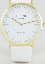 inspired leather watch  white exclusive to asos