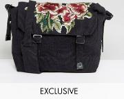 inspired messenger bag  black with floral patch