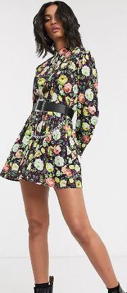 Inspired Mini Shirt Dress With Waisted Detail Floral Print