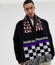 Inspired Oversized Scarf Logo Checkerboard Print With Tassels