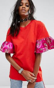 Inspired Oversized  Shirt With Brocade Ruffle Sleeves
