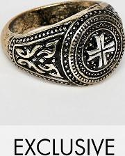 inspired signet ring with cross design exclusive at asos
