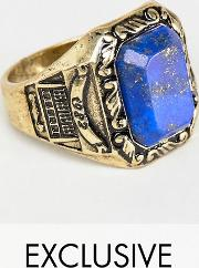 inspired signet ring with semi precious stone exclusive at asos