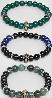 inspired skull bracelet with semi precious beads  3 pack exclusive to asos