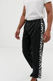 Inspired Straight Leg Trousers With Zebra Side Stripe