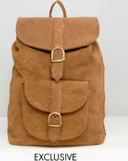 inspired suede leather backpack