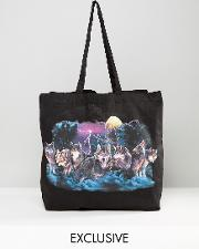 inspired tote bag  black with wolf print