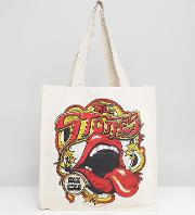 Inspired Tote Bag With Rolling Stones Print