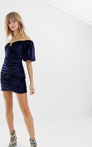 Inspired Velvet Mini Dress With Ruching And Puff Sleeve