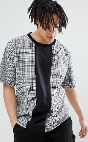 inspired woven check t shirt with cut and sew