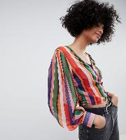 Inspired Wrap Blouse Stripe