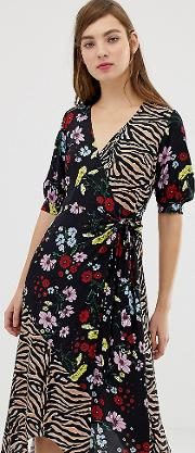 Inspired Wrap Midaxi Dress Mix Floral Tiger Print