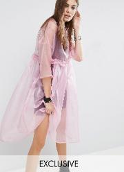 oversized sheer tulle dress with cami slip