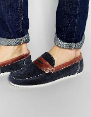 penny loafers in blue suede
