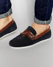 tassel loafer in blue suede