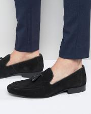 tassel loafers in black suede
