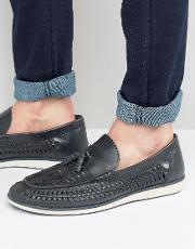 Woven Tassel Loafers In Blue Leather