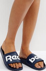 classic sliders with large logo in navy