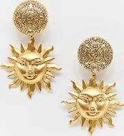 arlana gold plated sun statement clip on drop earrings