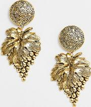 Plated Grapevine Statement Earrings