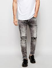biker jeans in skinny fit with stretch  grey veins wash