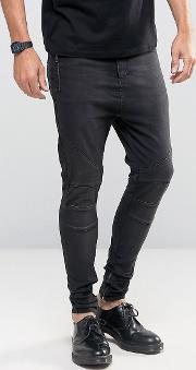 Drop Crotch Skinny Jeans With Biker Knee Detail And Zip Ankle  Washed Black