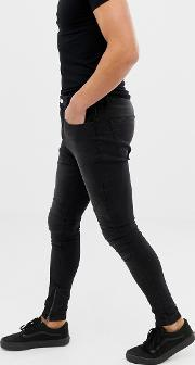 Drop Crotch Super Skinny Fit Jeans With Panelling Wash