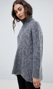 fluffy knit oversized cable  jumper with high neck