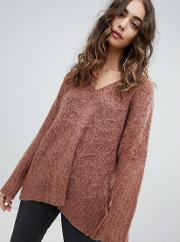 fluffy knit oversized  neck cable  jumper