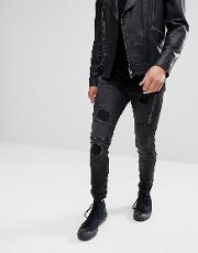 Jeans In Skinny Fit With Panels And Rips