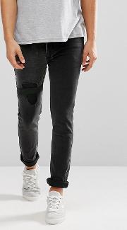 jeans in slim stretch fit with elastic patch
