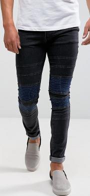 Jeans In Super Skinny Stretch Fit With Biker Knee Detail