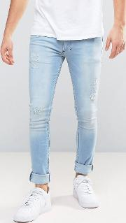 jeans in super skinny stretch fit with distressing