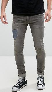 jeans in super skinny stretch fit with repair work