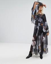 Layered Maxi Dress With Tie Sleeves In Dark Floral