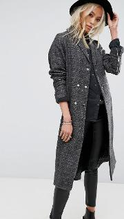 Longline Trench Coat  Prince Of Wales Check