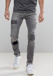 patched denim in skinny fit with stretch