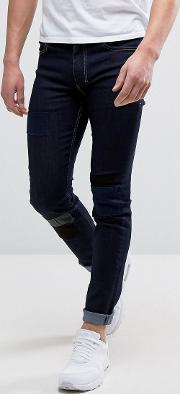 patched denim in super skinny fit with stretch