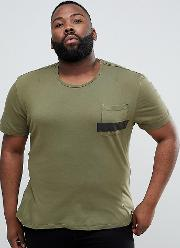 plus t shirt in khaki with stripe pocket and stepped hem