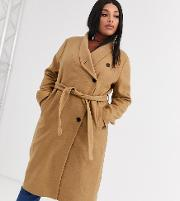Wrap Front Belted Wool Coat