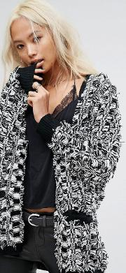 relaxed cardigan in textured checkerboard knit