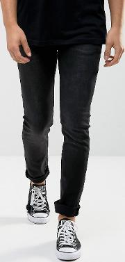 slim fit noize jeans in washed black