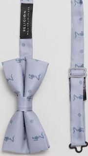 wedding printed bow tie  grey satin twill